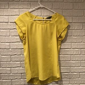 Express Yellow Size Small Silk like Career Top